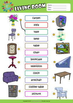 Living Room Exercises by Living Room Esl Matching Exercise Worksheet For