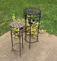 wrought iron plant stands 2 Wrought Iron Metal Plant Stands / Lattice and by ...
