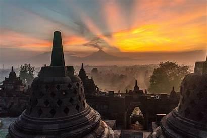 Indonesia Borobudur Temple Sunrise Indonesian Visit Java