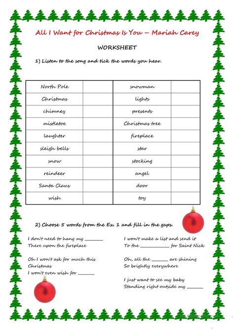 Song Activity  All I Want For Christmas Is You Worksheet  Free Esl Printable Worksheets Made
