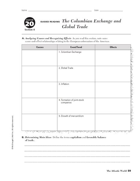trade worksheets grade 6 columbian exchange worksheets coterraneo
