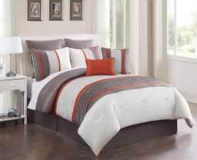 8 piece queen aruba orange taupe comforter set