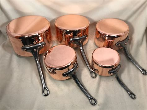 set   hammered french copper tin lined sauce pans