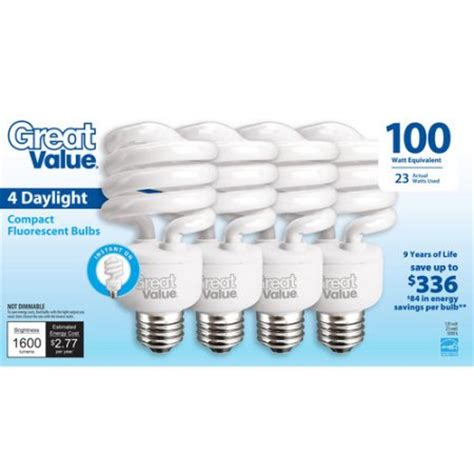 great value light bulb 23w 100w equivalent spiral cfl