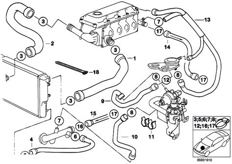 original parts for e34 518g m43 touring engine cooling system water hoses estore central