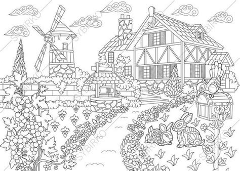 Rural Farm House. Coloring Pages. Coloring Book Pages For Kids