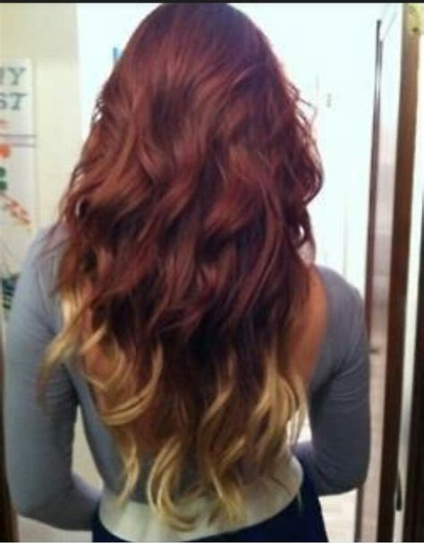 Red Asian Hair With Blonde Ombre Dyeing For Color
