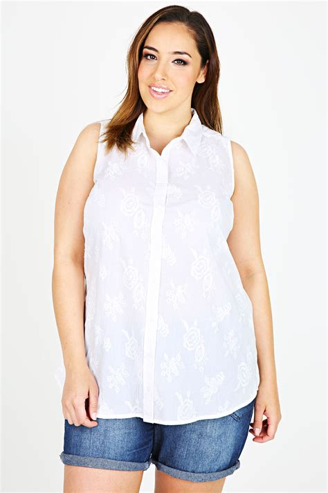 Embroidered Sleeveless Shirt white floral embroidered sleeveless shirt plus size 16 18