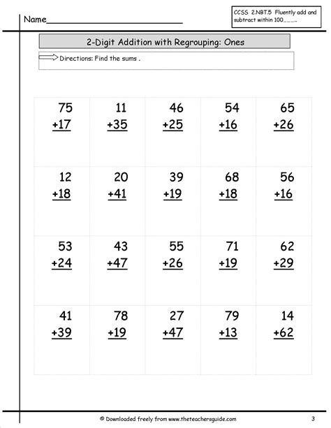 Two Digit Addition Worksheets From The Teacher's Guide