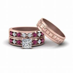 Princess cut trio diamond wedding ring sets for him and for Princess cut pink diamond wedding rings
