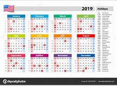 Vector Giorni Festivi 2019 Calendario Usa Insieme