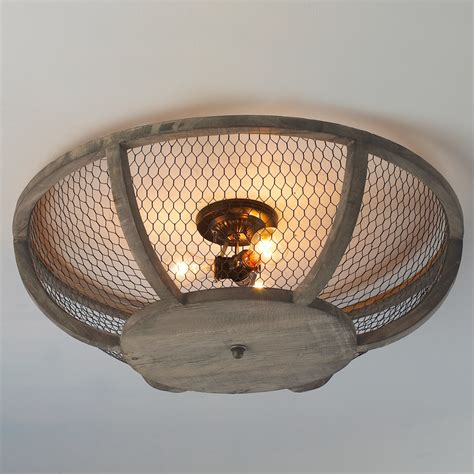 chicken wire basket ceiling light large shades  light