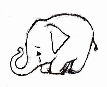 Elephant Sad Drawing Crying Elephants Cry Charcoal