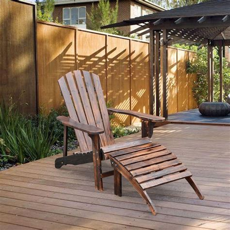 Outdoor Deck Chairs by Adirondack Outdoor Patio Deck Wood Lounge Chair Seat W