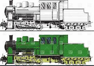 Old Train Side View Drawing