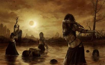 Fantasy Backgrounds Witch Witches Eclipse Swamp Wallpapers