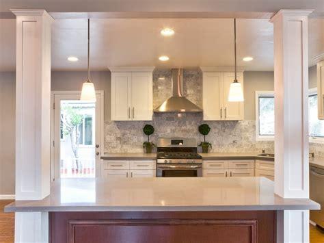 kitchen island with columns contemporary kitchen with hardwood floors columns