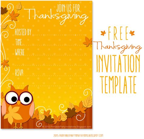 thanksgiving invite template  printable party