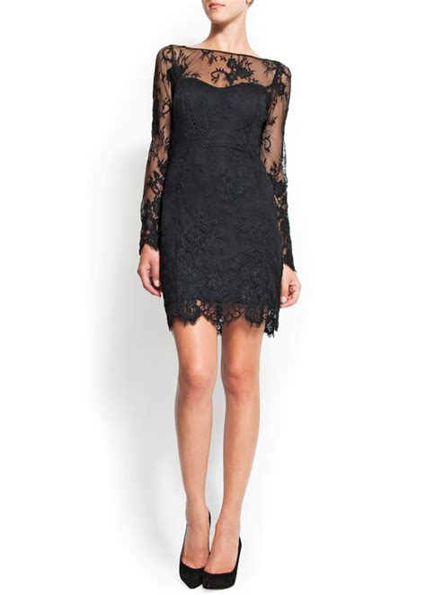 mango lace dress  black lyst
