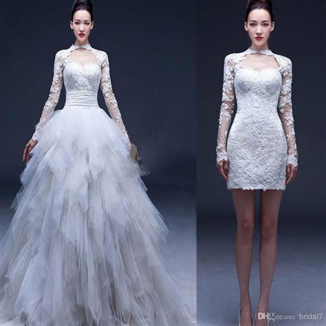 cheap  long sleeve convertible wedding dresses