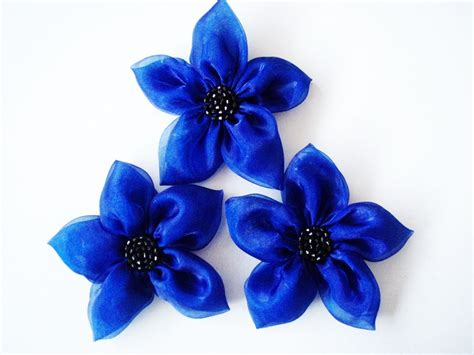 3pcs Colorful Flower Canvas Abstract Painting Print Art: Cobalt Blue Flowers Handmade Appliques Embellishments(3