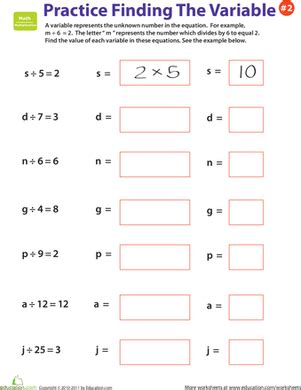 practice finding the variable 2 worksheet education