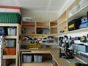 Pegboard Garage Wall Storage Between DIY Wood Custom
