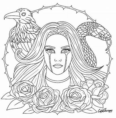 Gothic Coloring Pages Adults Fairy Printable Goth