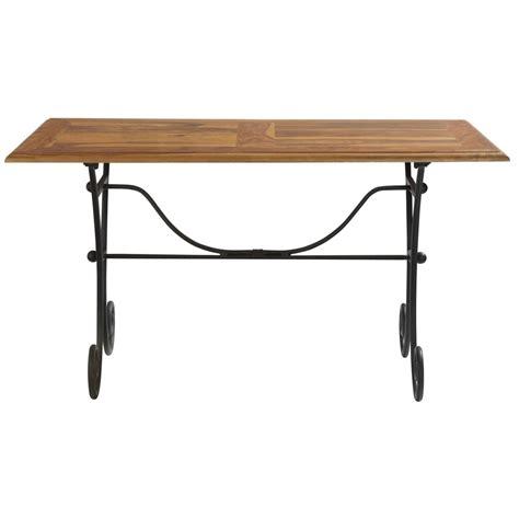 table de salle 224 manger en bois de sheesham massif et fer forg 233 l 140 cm luberon maisons du monde