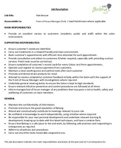 Salon Manager Roles And Responsibilities by Hairstylist Description Sle 9 Exles In Word Pdf