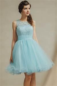 Robe Bleu Demoiselle D Honneur : robe demoiselle d honneur bleu au genou en tulle jupe vas e ~ Dallasstarsshop.com Idées de Décoration