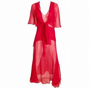 1930s Red Silk Evening 30s Vintage Dress For Sale at 1stdibs