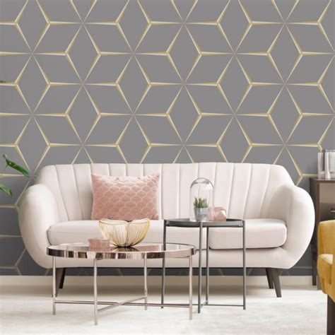belgravia decor geometric yellowgrey glitter wallpaper