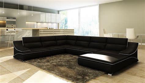 canape d angle 10 places deco in canape d angle en cuir noir et blanc