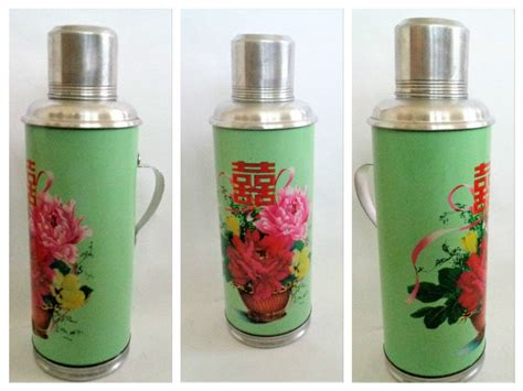 Vintage Thermos, Vacuum Flask, Flower Pattern Thermos