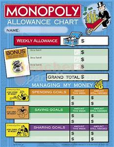 Allowance Chore Chart Chore Charts Monopoly Allowance 25 Charts 8 1 2 Quot X 11
