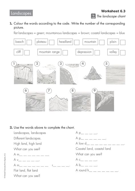 landscape sheets landscapes worksheet 6 3