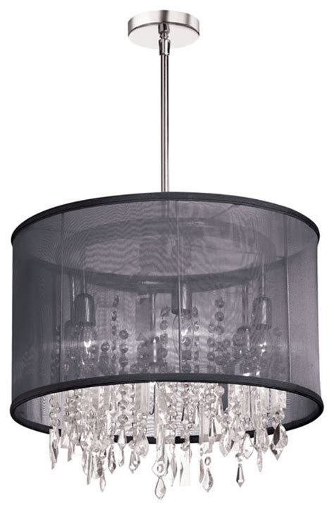 6 light chandelier black organza drum shade