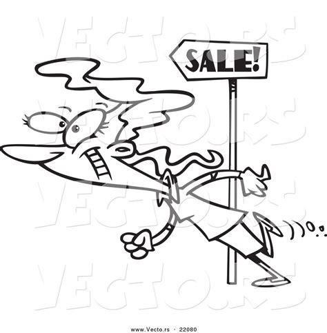 vector   cartoon woman  sale signs outlined