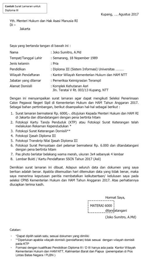 Contoh Surat Lamaran Kerja Cpns Kemendikbud by Contoh Surat Lamaran Cpns 2018 Surat Pernyataan Cpns