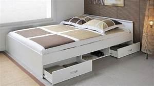 Lit 120x190 Avec Tiroir : lit 120x190 avec tiroir ~ Teatrodelosmanantiales.com Idées de Décoration