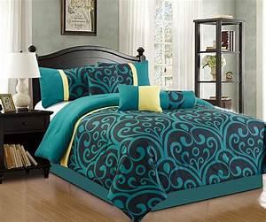 Addison, 7, Piece, Modern, Comforter, Set, Teal, Blue, Black