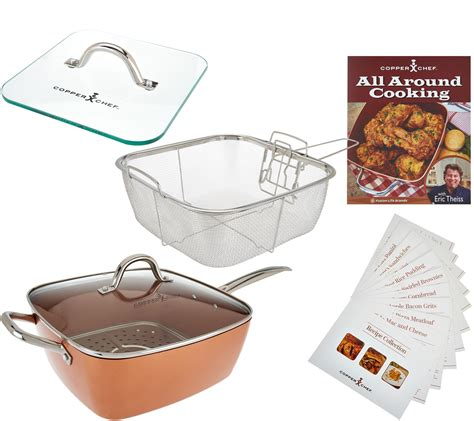 copper chef xl  square pan   piece cooking system recipes  ebay