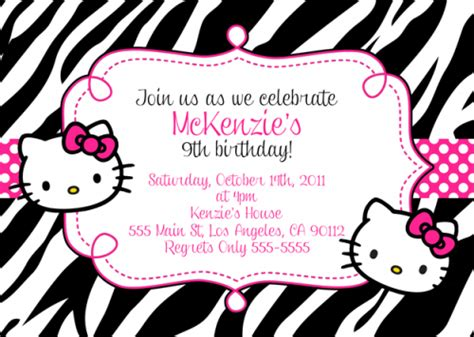kitty birthday invitation bagvania  printable