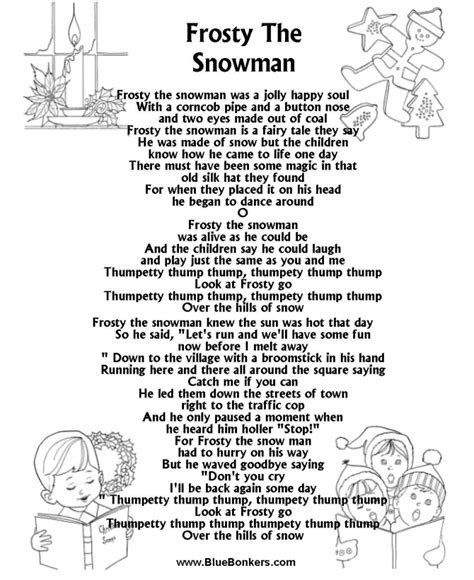 Use of any lyrics contained in this web site constitutes acceptance of. BlueBonkers: Frosty the Snowman , Free Printable Christmas Carol Lyrics Sheets : Favorite ...
