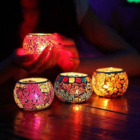 Candle Decorating With Glasses by New Mosaic Glass Candle Holders Tealight Votive