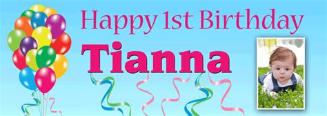 birthday banner with balloons and photo personalised banners