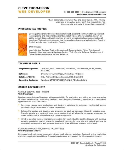Resume Of Web Developer by Web Developer Page1 New Media Resume Sles Free