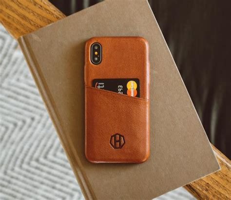 luxury leather iphone wallet card case brown leather