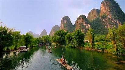 Guilin Raft Bamboo China Trees Yangshuo Mountains